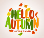 Hello autumn vector banner design with colorful maple leaves elements. And text greetings for fall season. Vector illustration Stock Images