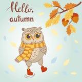 Hello Autumn vector illustration with cute cartoon owl Royalty Free Stock Photo