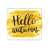 Hello Autumn. Vector illustration of lettering phrase on golden paint stain banner. Vector gold paint. Autumn calligraphy composition with gold brush painted Stock Photography
