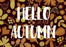 Hello autumn. Vector template of greeting card with Hello autumn text and floral background Royalty Free Stock Photo