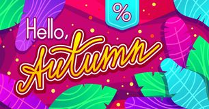 Hello, Autumn vector trendy design for website and print. Colorful banner with lettering and leaves over abstract purple background. Template for season sales Stock Illustration