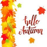 Hello autumn, vertical seamless border Royalty Free Stock Photo