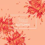 Hello Autumn Watercolor Floral Design with Maple Leaf. Seasonal Fall Banner, Poster, Print, Sale, Promo Template. Autumn. Abstract Background. Vector stock illustration