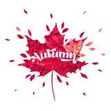 Hello Autumn Watercolor Floral Design met Esdoornblad Seizoengebonden Dalingsbanner, Affiche, Druk, Verkoop, Promo-Malplaatje De  vector illustratie