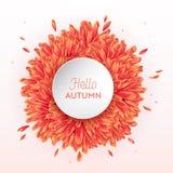 Hello Autumn Watercolor Floral Design met Esdoornblad Seizoengebonden Dalingsbanner, Affiche, Druk, Verkoop, Promo-Malplaatje De  royalty-vrije illustratie