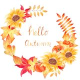 Hello autumn - watercolor hand drawn composition with leaves and sunflowers Stock Image