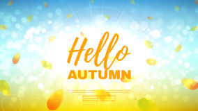 Hello autumn web banner. Beautiful background with the falling leaves. Vector illustration Royalty Free Stock Photos