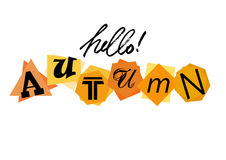 Hello Autumn. Welcoming card with lettering Royalty Free Stock Photo