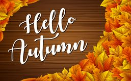 Hello autumn wooden background with colorful leaves. Illustration of Hello autumn wooden background with colorful leaves Stock Photos
