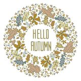 Hello autumn wreath of colorful leaves Stock Photography