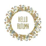 Hello autumn wreath of colorful leaves Stock Photo