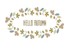 Hello autumn wreath of colorful leaves Stock Image