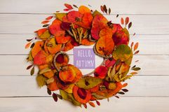 Hello autumn wreath. From fallen leaves stock photography