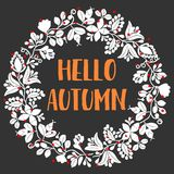 Hello autumn wreath vector card Royalty Free Stock Photography