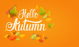 Hello Autumn Yellow Leaf Fall Banner abstrakt begreppbakgrund stock illustrationer