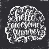 Hello Awesome summer. Hand drawn typography poster. Stock Images