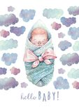 Hello baby greeting card. Painted in watercolor. royalty free stock image