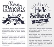 Back to School Time Sticker with Text on White Royalty Free Stock Images