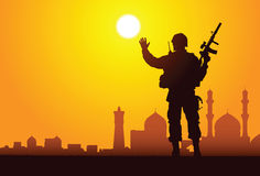Hello, Bagdad!. Vector silhouette of a soldier with mosques on the background Royalty Free Stock Photo