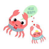 Hello beauty card with cartoon sailor crab and girl Royalty Free Stock Photo