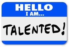 Hello ben ik Begaafd Naamplaatje Job Fair Introduction Networking stock illustratie