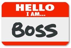 Hello ben ik Chef- Nametag Sticker Supervisor-Instantie Royalty-vrije Stock Foto
