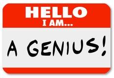 Hello ben ik een Deskundige Briljante Denker van Genienametag Royalty-vrije Stock Foto