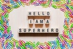 Hello ben ik het super concept van heldenwoorden stock afbeelding