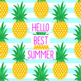 Hello best summer card with cute pineapples. On striped background. Text on bright summer fruit illustration. Can be printed on T-shirts, bags, posters vector illustration