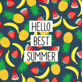 Hello Best Summer phrase on seamless pattern with yellow bananas, pineapples and juicy strawberries. Stock Images