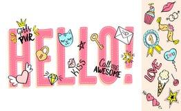 Hello bokstäver med flickaktigt klottrar och handen drog uttryck för designen för valentindagkortet, t-skjorta för flicka` s tryc Arkivbilder