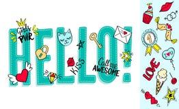 Hello bokstäver med flickaktigt klottrar och handen drog uttryck för designen för valentindagkortet, t-skjorta för flicka` s tryc Royaltyfria Bilder