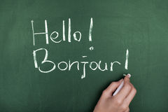 Hello Bonjour Stock Images