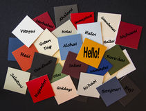 Hello, Bonjour, Nichiwa! Hello in different languages - Sign Royalty Free Stock Photography