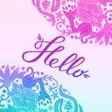 Hello Border Blue and Purple, White 2 Royalty Free Stock Photo