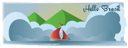 Hello Brasil card with mountains, a boat, and sea view over white background, in outlines Royalty Free Stock Images