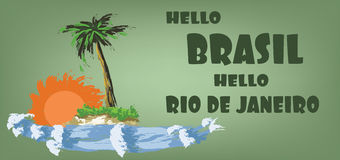 Hello brasil card with palm trees, sun and water design over green background, in outlines Royalty Free Stock Photos