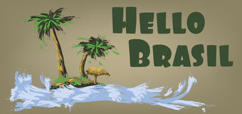 Hello brasil card with palm trees and water design over brown background, in outlines Royalty Free Stock Photography