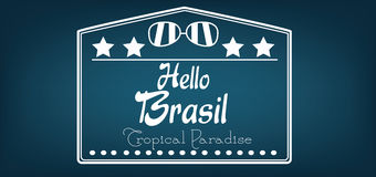 Hello Brasil card with stars and sunglasses over dark blue background, in outlines Stock Photography