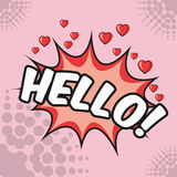 Hello bubble hearts love pop art pink background design Royalty Free Stock Photos