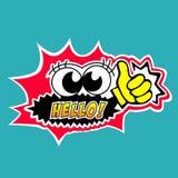 Hello bubble speech cartoon style. Stock Photo