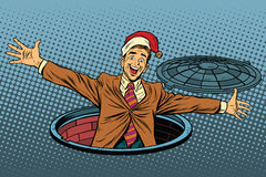 Hello businessman Christmas surprise royalty free illustration
