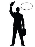 Hello businessman hat gesture black silhouette figure Royalty Free Stock Photos