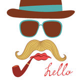 Hello card with colorful mustache party elements Stock Photo