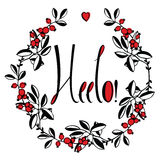 Hello card with floral frame vector illustration