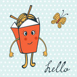 Hello card with funny character. Chinese food box Royalty Free Stock Image