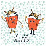 Hello card with funny characters Stock Photo