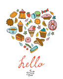 Hello card with hand drawn desserts composed in a Stock Image