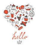 Hello card with hand drawn desserts composed in a Royalty Free Stock Photo