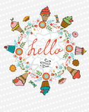 Hello card with hand drawn desserts composed in a heart Royalty Free Stock Photography